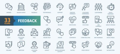 Fototapete Feedback Outline Icon Collection. Thin Line Set contains such Icons as Rating, Testimonials, Quick Response, Satisfaction and more. Simple web icons set.
