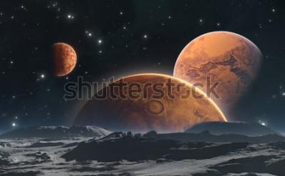 Fototapete Felsige Planeten und Mond, Raumhintergrund. Abbildung 3d