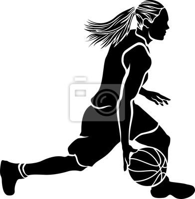 Female Basketball Dribble Sihouette