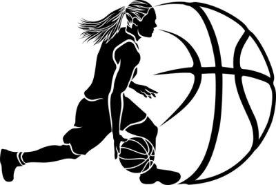 Fototapete Female Basketball Dribble Sihouette with Ball