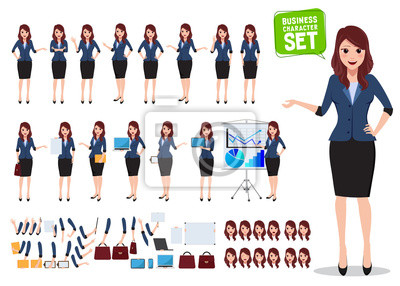 Fototapete Female business character vector set. Office woman talking with various poses and hand gestures for business presentation isolated in white. Vector illustration.