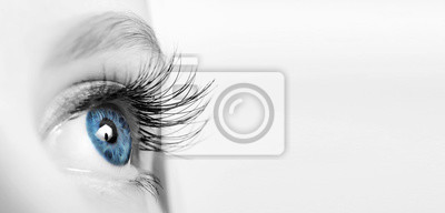 Fototapete Female eye with long eyelashes close-up