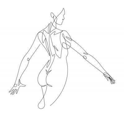 Fototapete Female Figure Continuous Line Vector Graphic VI