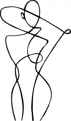Fototapete Female figure, drawn in one line