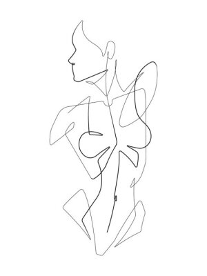 Fototapete Female Figure One Continuous Line Vector Graphic Illustration