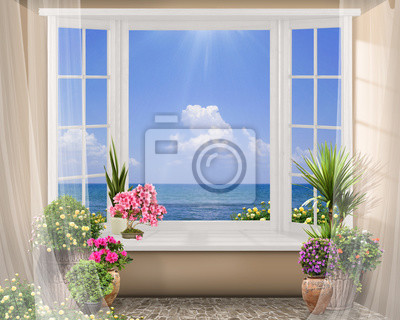 fenster mit farbe blumen sommer meerblick mit wolken digitale fototapete fototapeten. Black Bedroom Furniture Sets. Home Design Ideas