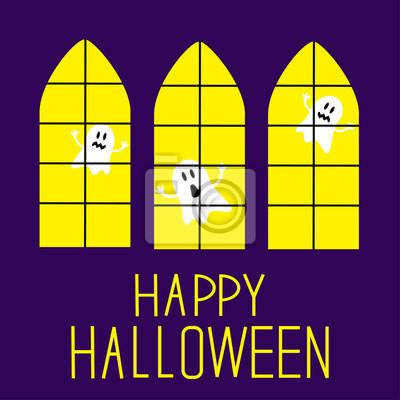 Fenster mit Geistern. Happy Halloween-Karte.