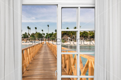 Fototapete Fenster öffnen Blick auf den Pavillon im Meer