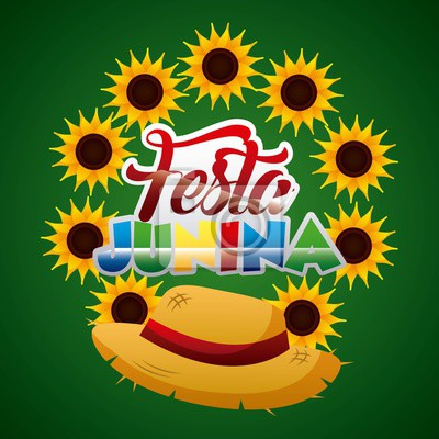Fototapete Festa Junina Korbhut Sonnenblumendekoration Auf Grüner Hintergrundvektorillustration