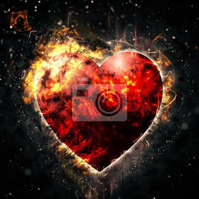Feuer rotes herz fototapete • fototapeten nubes, Brennen, Gefühl ...