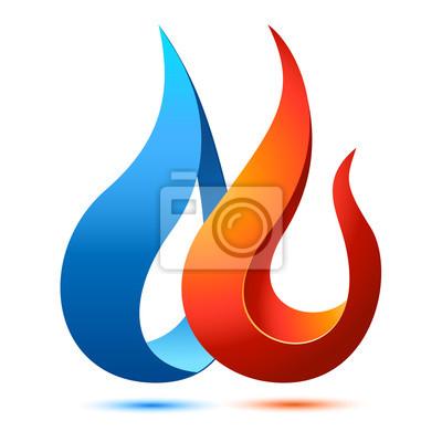 Feuer und wasser - logo z.b. für klempner, heizungsmonteur ...