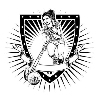 Fototapete field hockey shield