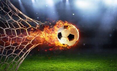 Fototapete Fiery Soccer Ball In Goal With Net In Flames