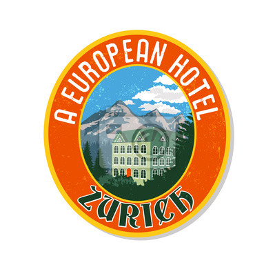 Fiktionale Souvenir Gepäck Aufkleber mit Hotel in den Alpen