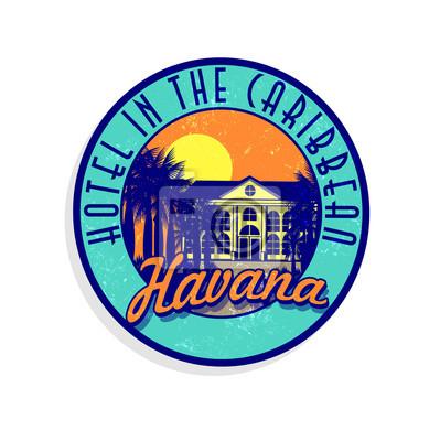 Fiktionale Souvenir Kofferaufkleber aus Havanna, Kuba