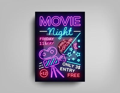 Film night poster design-vorlage in neon-stil. leuchtreklame ...