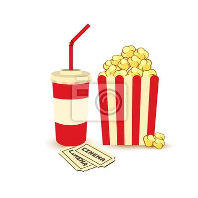 Filmplakatvorlage. popcorn, soda essen zum mitnehmen. kino-design ...