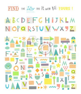 Finden Sie den Brief! Lustiges Spiel für Kinder. Nettes Papier schneiden Alphabet.