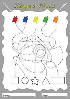 Finden sie formen und malen, arbeitsblatt für kinder fototapete ...