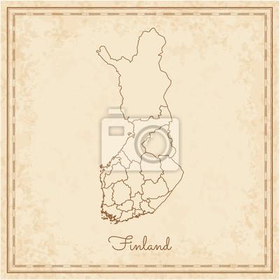 Finnland Karte Regionen.Fototapete Finnland Region Karte Stilierte Alte Piraten Pergament Nachahmung