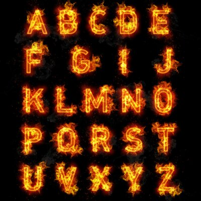 Fototapete Fire font text all letters of alphabet on black background