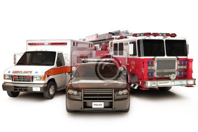 Fototapete First Responder Fahrzeuge, auf einem weißen Hintergrund