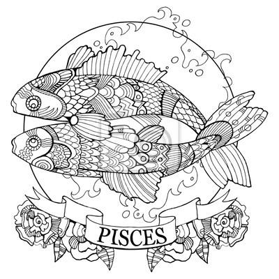 Fische Tierkreis Zeichen Färbung Buch Vektor