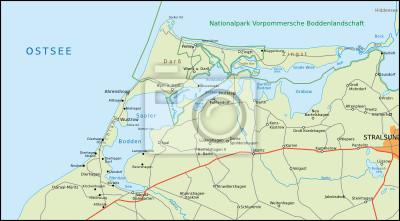 Fischland Darß Zingst Karte.Fototapete Fischland Darß Zingst