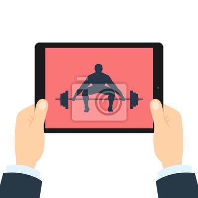 Fitness-app für tablette. gewichtheber mit langhantel. hände ...