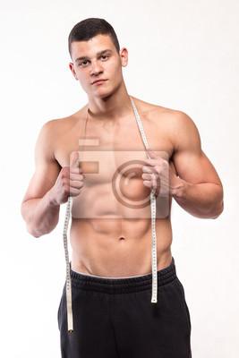 Fitness muskulöser Mann mit Körper Maßnahme