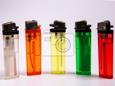 Fototapete five gas lighters in different colours on a white background