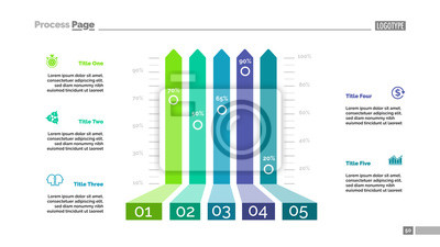 Bar Chart Template | Five Options Bar Chart Template For Presentation Fototapete
