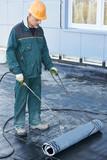 Flachdacheindeckung Reparaturarbeiten Mit Dachpappe Fototapete
