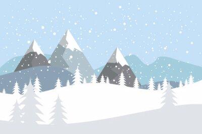 Fototapete Flache Vektorlandschaft mit Schattenbildern von Bäumen, von Hügeln und von Bergen mit fallendem Schnee.