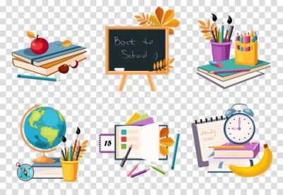 Fototapete Flacher Vektorsatz von Kompositionen mit Objekten, die sich auf das Bildungsthema beziehen.  Zurück zur Schule