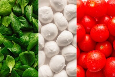 Fototapete Flag of Italy made of basel leaves, mozzarella cheese, and cherr