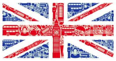 Fototapete Flagge von England von Symbolen des Vereinigten Königreichs und London