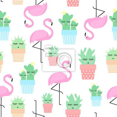 Fototapete Flamingo mit Kakteen in niedlichen Töpfe nahtlose Muster. Einfache Cartoon-Anlage Vektor-Illustration. Kind Zeichnung Stil niedlichen Kaktus mit tropischen Vogel Hintergrund.
