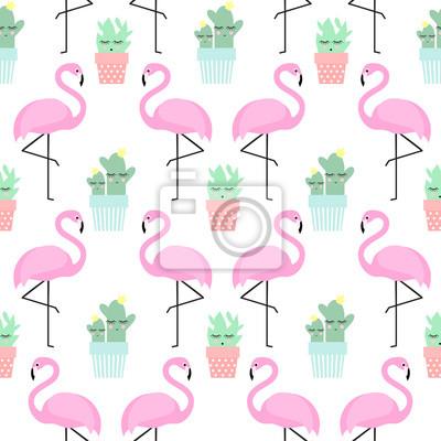Fototapete Flamingo mit Kaktus in niedlichen Töpfe nahtlose Muster. Einfache Cartoon-Anlage Vektor-Illustration. Child Zeichnung Stil cute Kakteen mit tropischen Vogel Hintergrund.