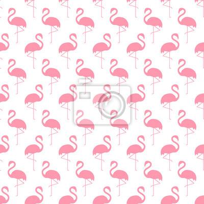 Fototapete Flamingo nahtlose Muster auf weißem Hintergrund. Einfache Flamingo Vektor Hintergrund. Art und Weiseentwurf für Gewebe und Dekor. Flamingo-Silhouette-Muster.