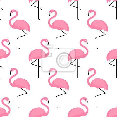 Fototapete Flamingo nahtlose Muster auf weißem Hintergrund. Flamingo Vektor-Hintergrund-Design für Stoff und Dekor.