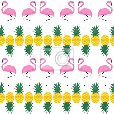 Fototapete Flamingo nahtlose Muster mit Ananas auf weißem Hintergrund. Sommer Vektor-Hintergrund-Design für Stoff und Dekor.