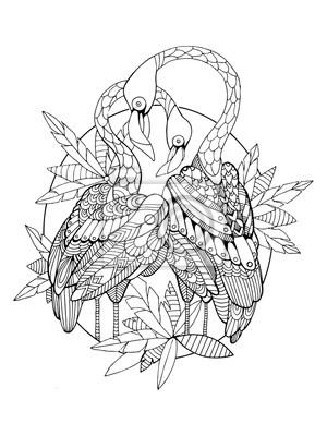 Flamingo Vogel Malbuch für Erwachsene Vektor