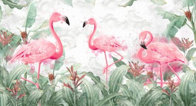 Fototapete flamingos in tropical streams with textured background, photo wallpaper