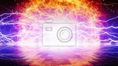 Flamme und Blitze