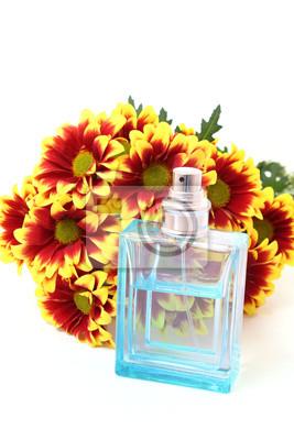 Fototapete Flasche Parfüm mit Blumen