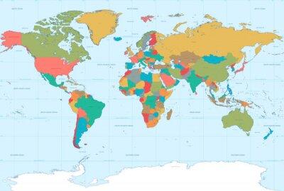 Fototapete Flat Colors World Map