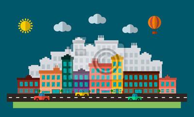 Flat Design städtischen Landschaft Illustration. Stadtlandschaft mit Straße, Autos und Gebäuden