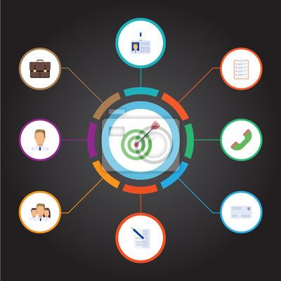 Flat goal, mitarbeiter, vertrag und andere vector elements. set ...