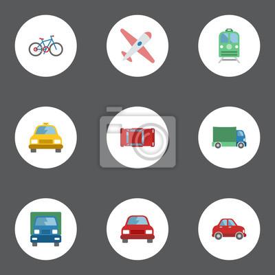 Flat lkw, auto, automotive und andere vector elemente. set von ...
